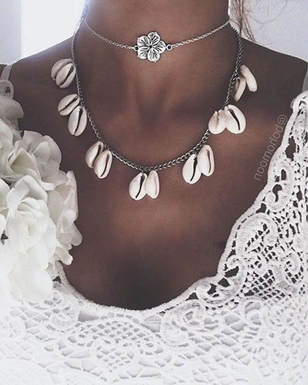 Bohemian Rose Shell Multilayer Tassel Necklace