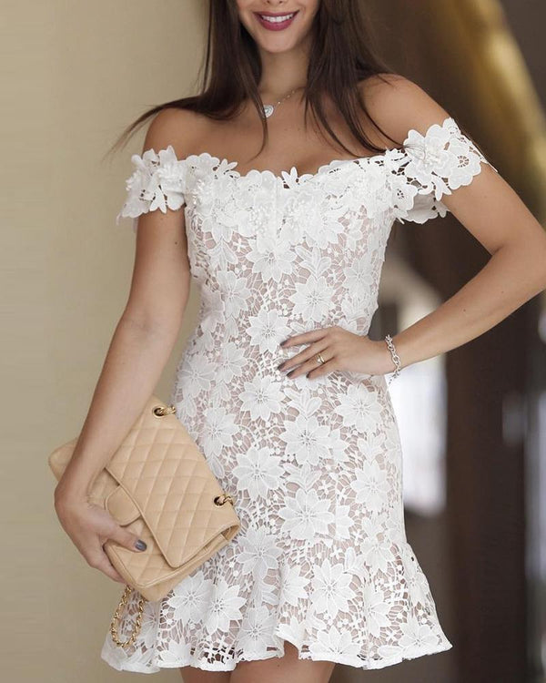 Off Shoulder Lace Detail Dress