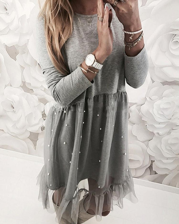 Splicing Mesh Beads Embellished Casual Dress