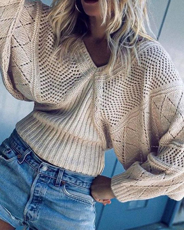 Batwing Sleeve Hollow Out Sweater