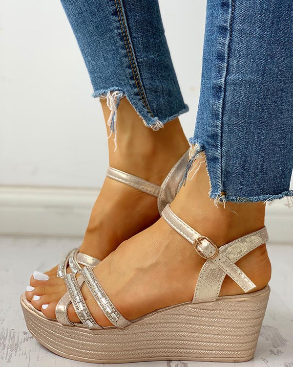 Studded Ankle Strap Wedge Sandals