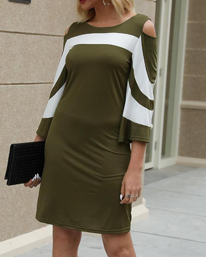 Contrast Cold Shoulder Mini Dress