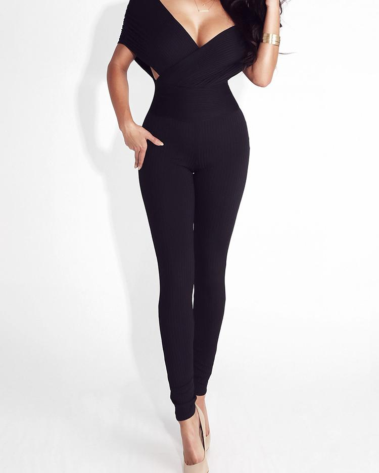 Crisscross Bandage Double V Neck Skinny Jumpsuit