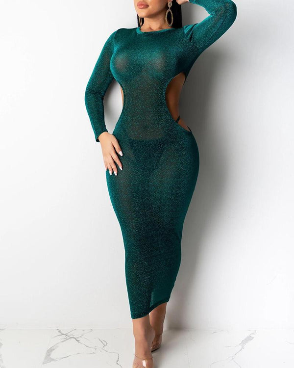 Solid Cutout Bodycon Midi Dress