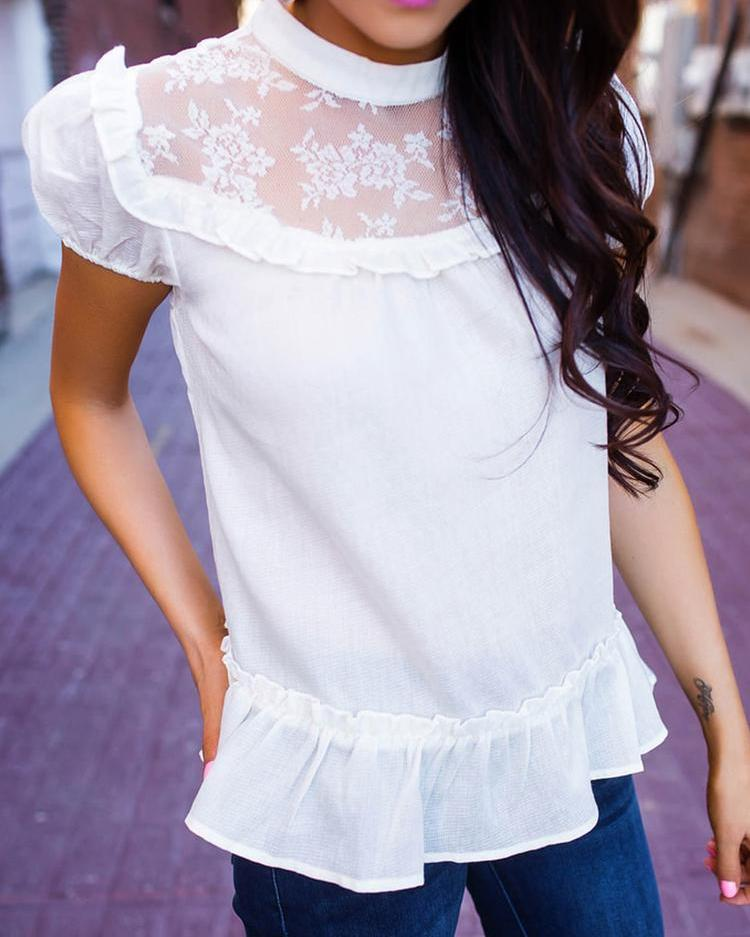 Puff Sleeve Lace Patchwork Ruffles Loose Blouse