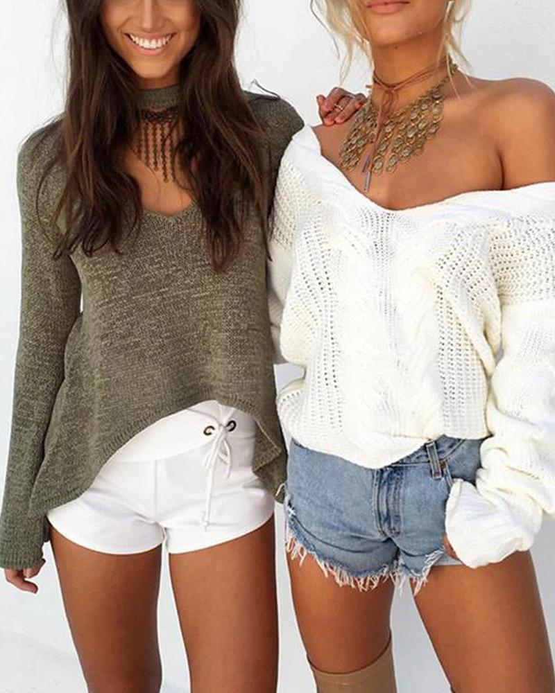 Solid V Neck Pointelle Sweater