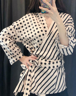 Asymmetrical Polka Dot & Striped Wrap Blouse