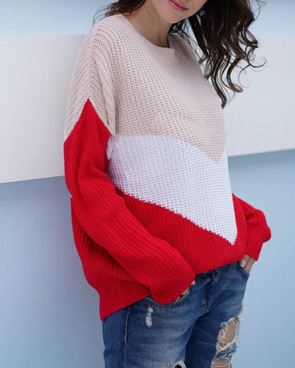 New Fashion Commuter Loose Stitching Sweater