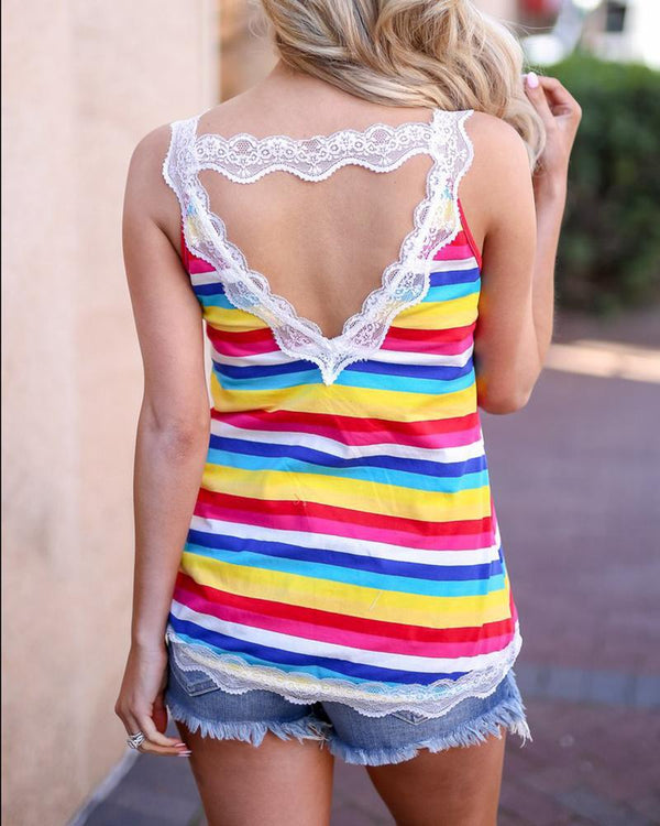Colorful Striped Lace Insert Top