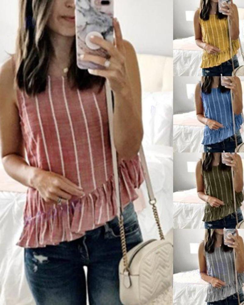 Cotton and linen striped round neck sleeveless vest irregular ruffled female T-shirt