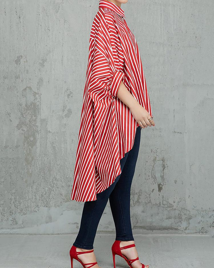 Striped Colorblock Batwing Sleeve Dip Hem Top