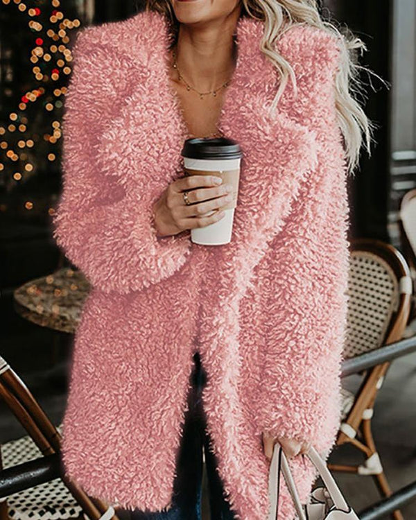 Long Sleeve Fluffy Pocket Teddy Longline Coat