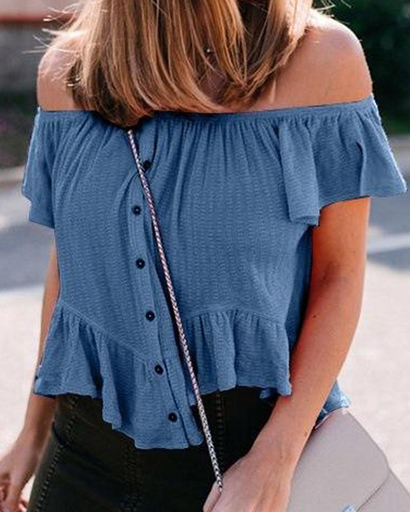 One-shoulder Solid Color Wrinkled Irregular Shirt