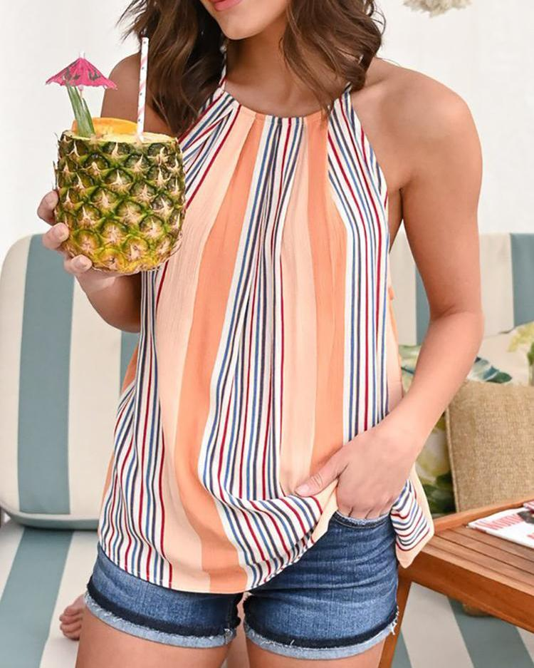 Sleeveless Striped Print Casual Summer Vest