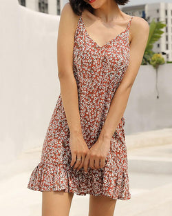 Sexy Camisole Travel Vacation Floral Print Dress