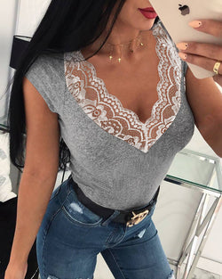 V-Neck Lace Patchwork Neck Tops