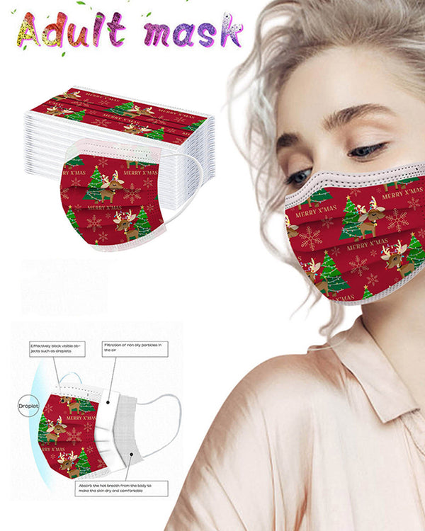 5PCS/Set Christmas Print Disposable Face Mask