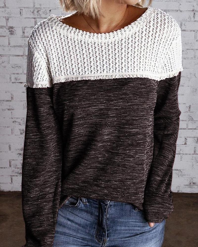Crew Neck Two-Tone Knit Sweater