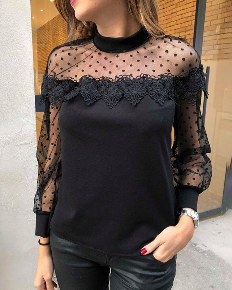 Sheer Dots Mesh & Lace Yoke Top