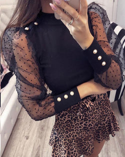 Polka Dot Mesh Sleeve Top