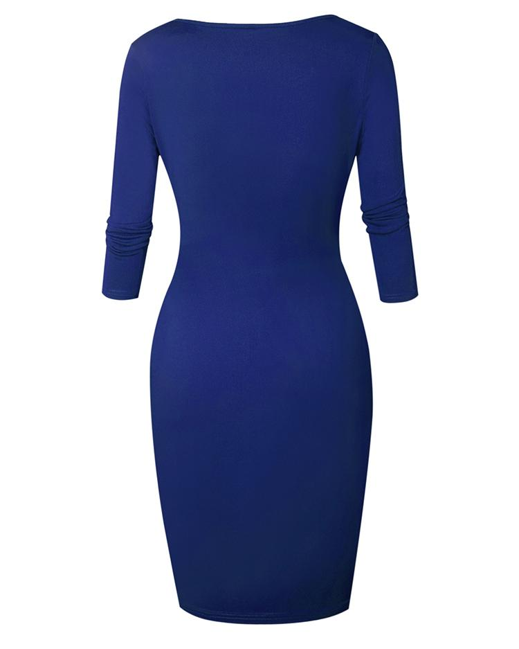 Sexy Zipper Up Split Bodycon Dress