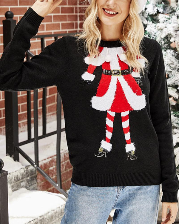 Christmas Cartoon Printing Long Sleeve Sweater