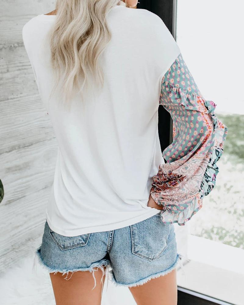 One Shoulder Floral Sleeve Chiffon Tops