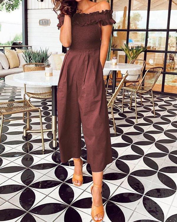 Fashion Off Shoulder Ruffled Jumpsuit