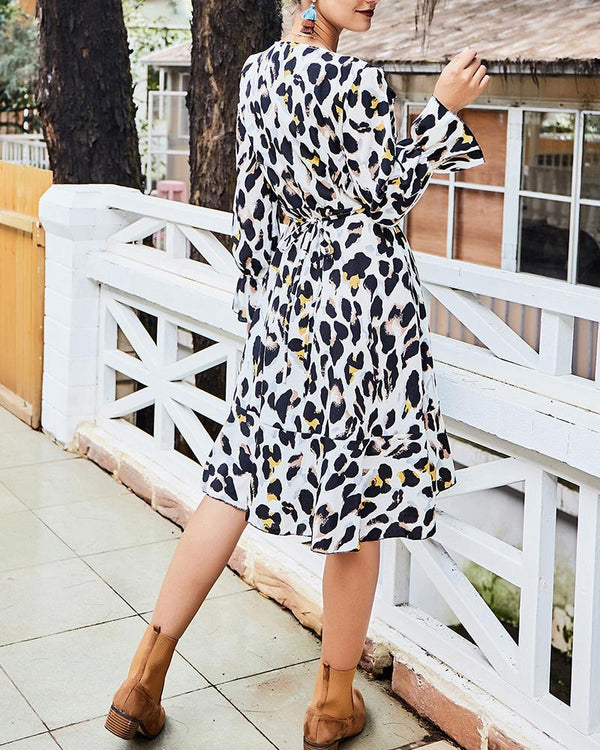 Leopard Print V Neck Wrap Mini Dress