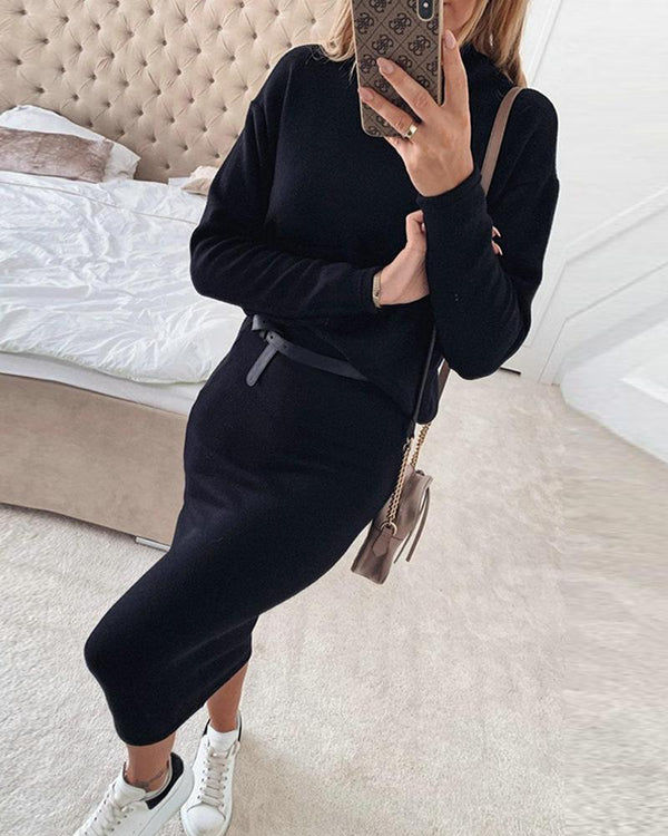 Black High Neck Midi Tunic Dress