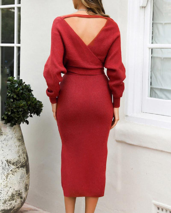 V Neck Backless Wrap Dress