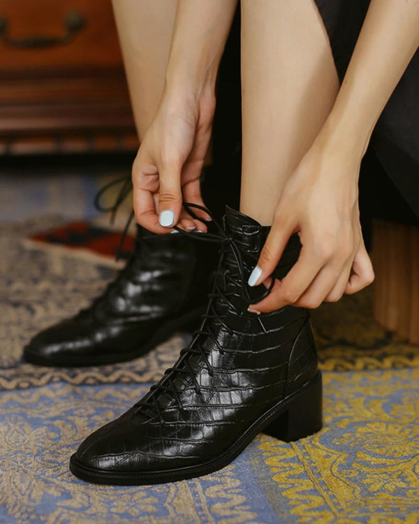 Pointed-toe Crocodile Leather Martin Boots