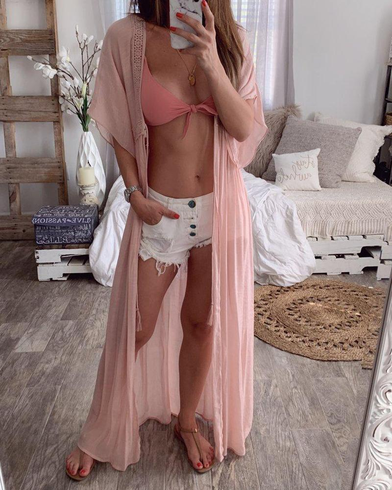 Lace Insert Beach Cover-Up