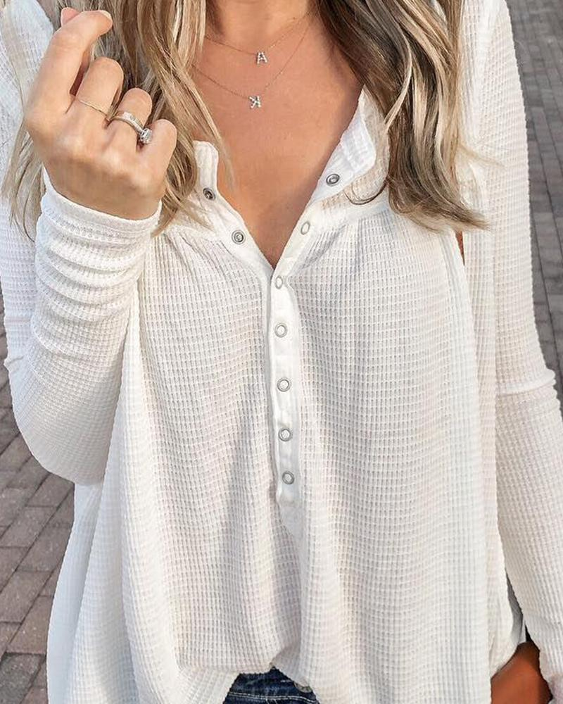 Solid V Button Neck Knit Blouse