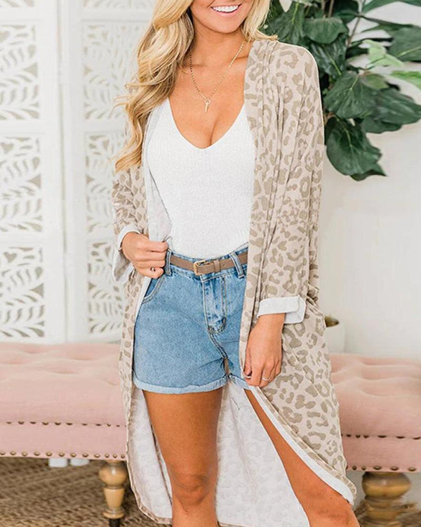Light Leoprint Print Long Cardigan