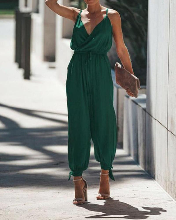 Strap Sleeveless Waist Tie Pocket Jumpsuit