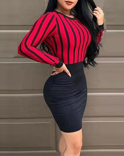 Open Back Striped Top Bodycon Dress