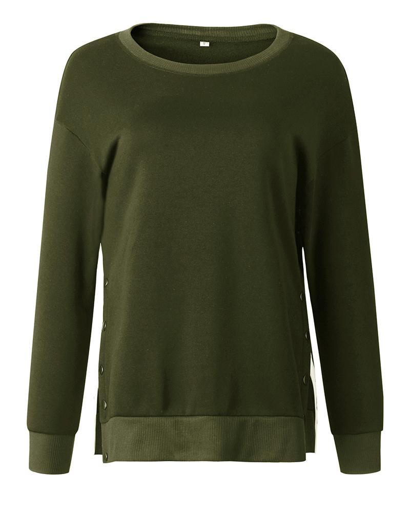 Button Slit Side Long Sleeve Sweatshirt
