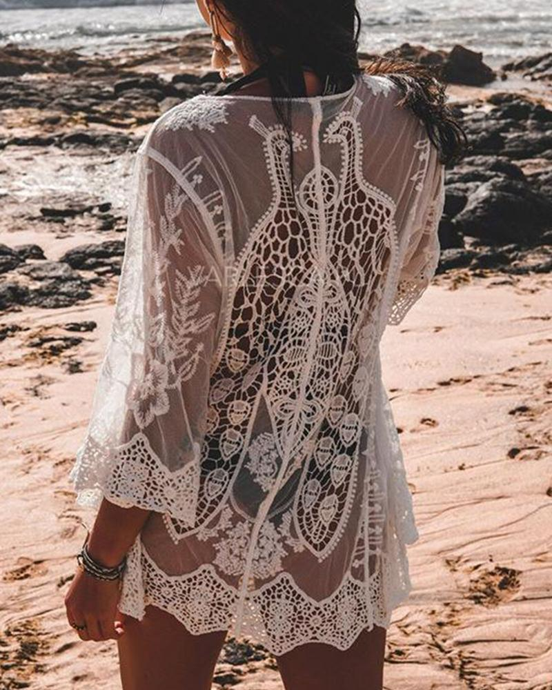 Crochet Tie Front Swim Cover-Up