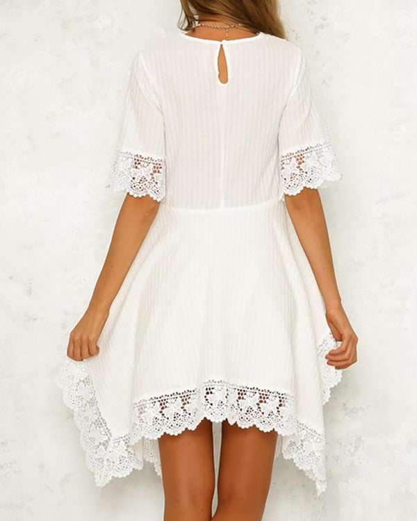 Crochet Lace Insert Irregular Dress