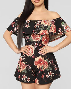Floral Off Shoulder Fold Over Rompers