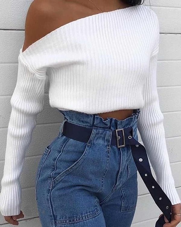White One-Shoulder Knitted Top