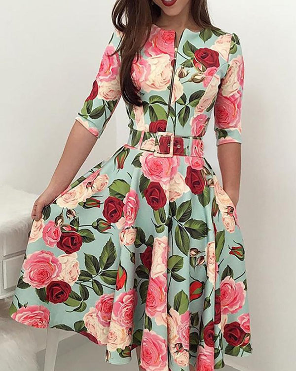 Floral Print Zipper Up Self Belted Pleated Dress