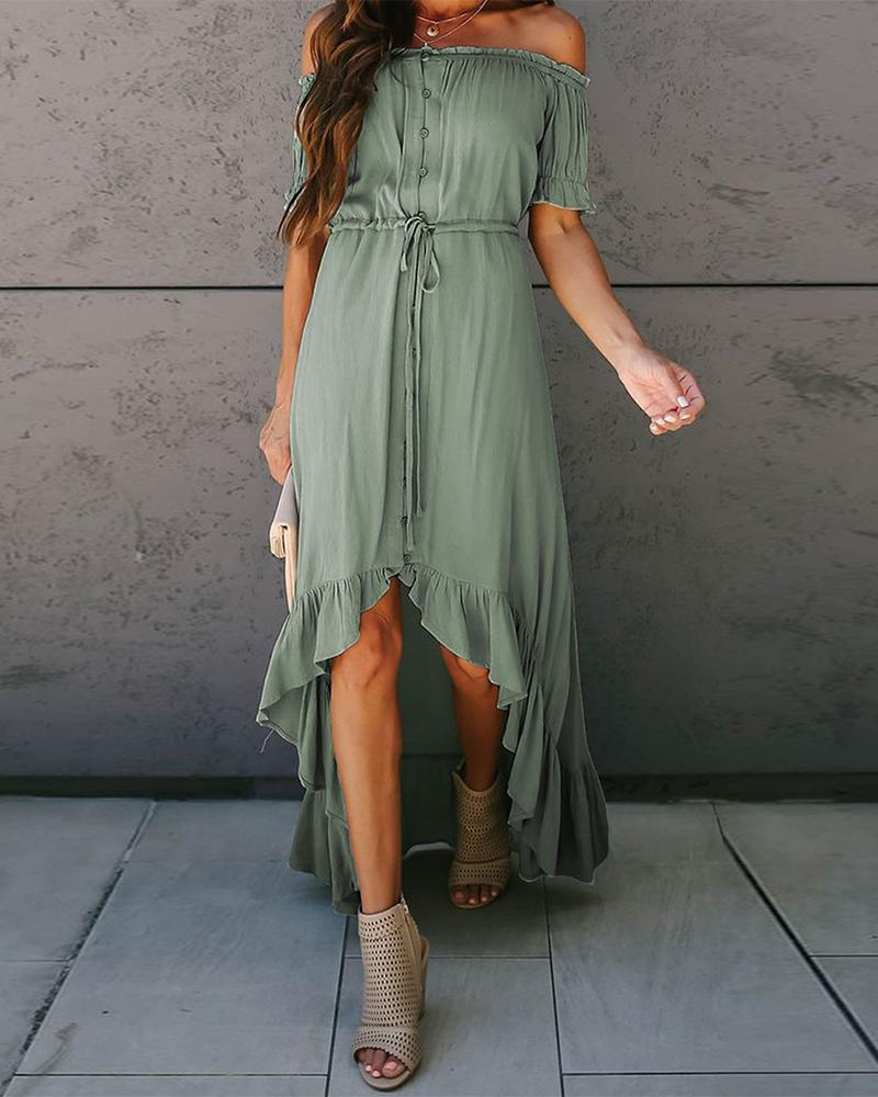 Off Shoulder Ruffle Asymmetric Dress