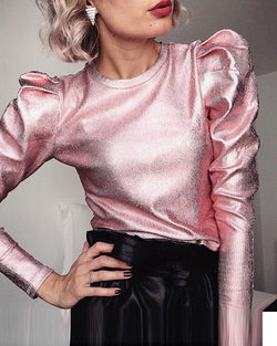 Metallic Color Puff Sleeve Top