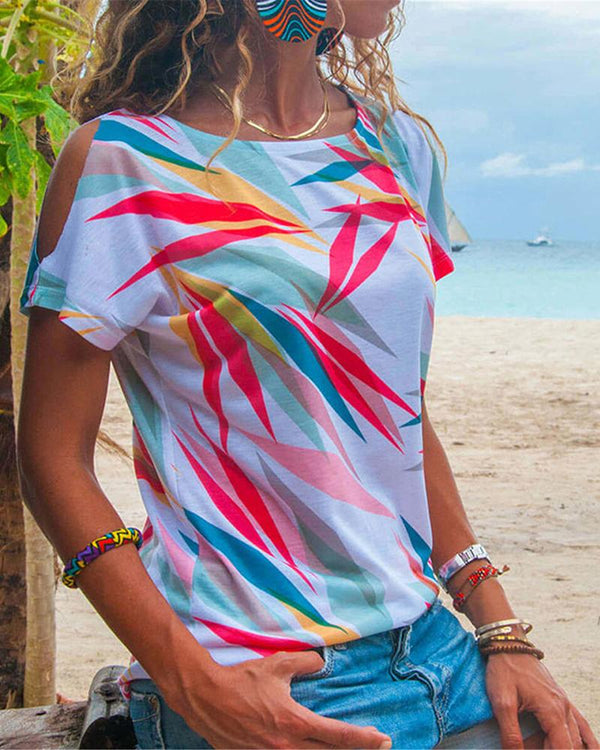 Chic Colorful Printed Loose Round Collar T-Shirts