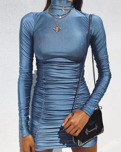 Long Sleeve Bodycon Ruched Mini Dress