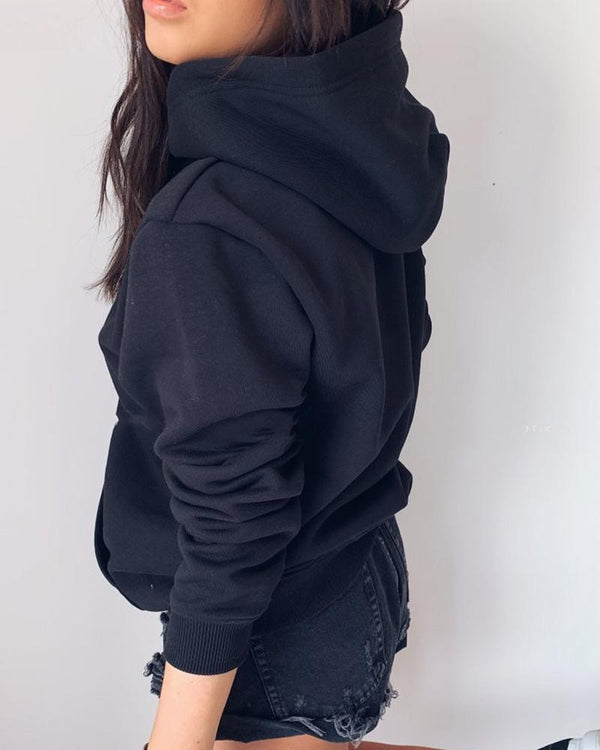 Solid Hooded Pocket Design Casual Sweatshirt