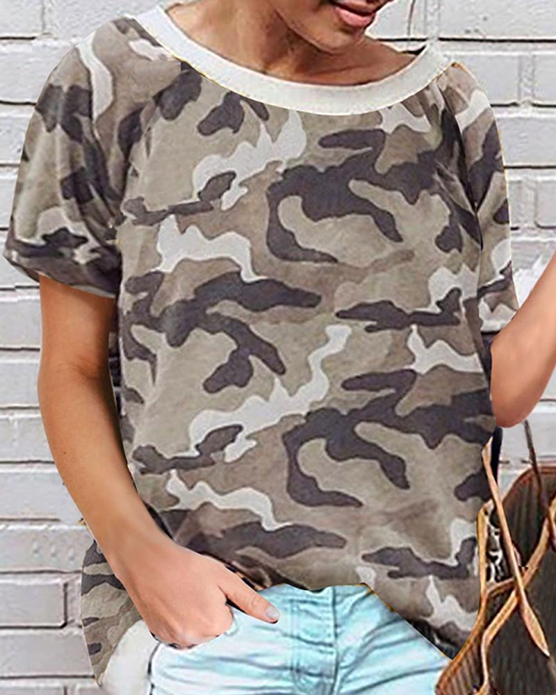 Round-neck Print Short Sleeve T-shirt