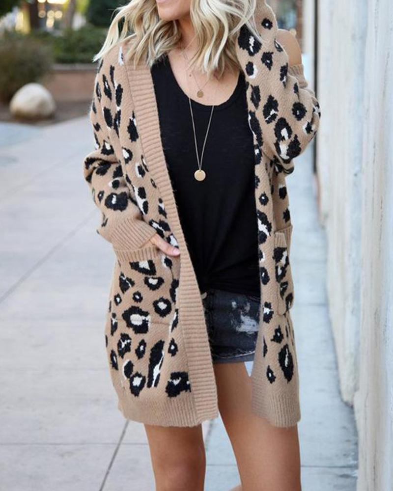Fashion tri-color leopard sweater cardigan